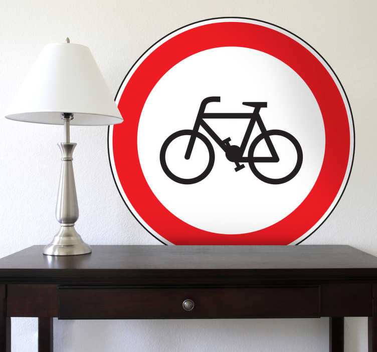 TenStickers. No Cycling Road Sign Sticker. Room Stickers - Highway Code - No Cycling road sign. Select a size that suits you.