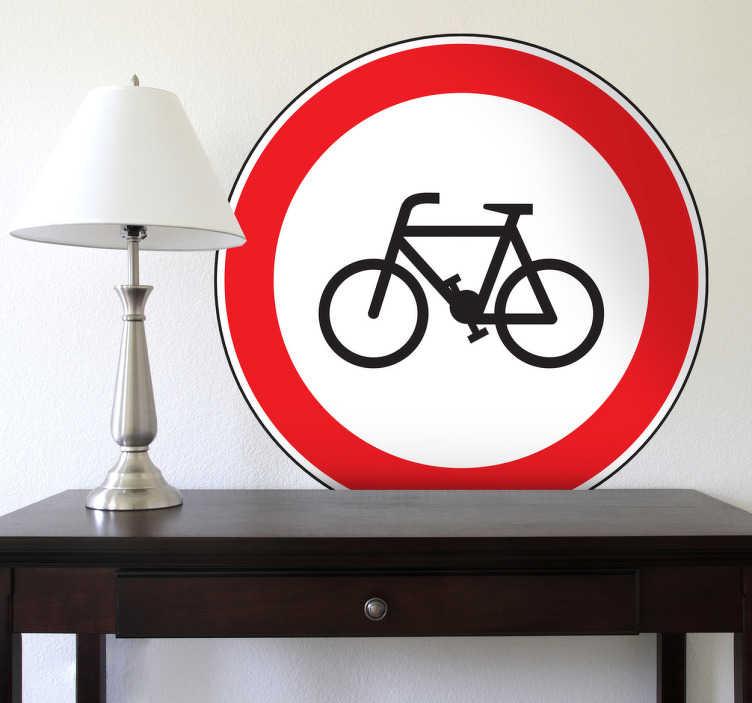 TenStickers. Autocolante decorativo proibidas bicicletas. Autocolante decorativo sinalizando a proibição da circulação de bicicletas. Vinil decorativo inspirado nos sinais do Código da Estrada.
