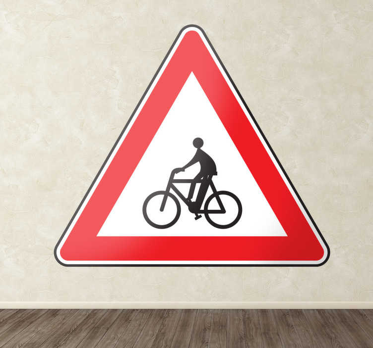 TenStickers. Cyclist Care Road Sign Sticker. Highway Code - Triangular frame warning road sign indicating a bike area. Available in various sizes.