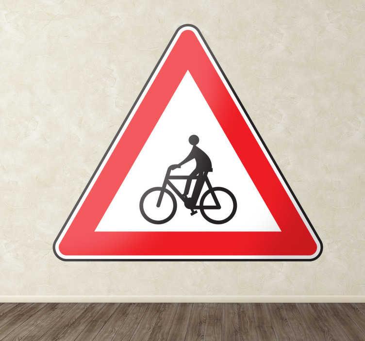 TenVinilo. Adhesivo decorativo atención ciclista. Vinilo triangular enmarcado en rojo con la señalética que advierte de que es zona de bicicletas. Vinilos de tráfico, disponibles en el tamaño que requieras.