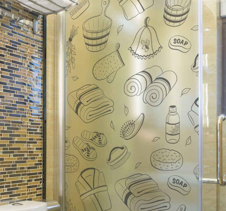 TENSTICKERS. バスルームアイテムシャワーステッカー. タオル、ローブ、スリッパ、ブラシなどのすべてのバスルームアイテムのデザインを含むバスルームシャワードアデカール。簡単に適用でき、取り外し可能です。