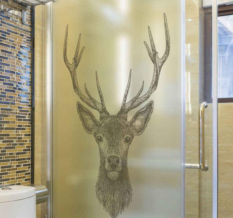 TENSTICKERS. スタッグシャワーステッカー. あなたが鹿の愛好家なら、あなたはあなたの浴室のためにこの装飾的なスタッグシャワースクリーンステッカーを好きになるでしょう。サイズはフィットするようにカスタマイズ可能です。