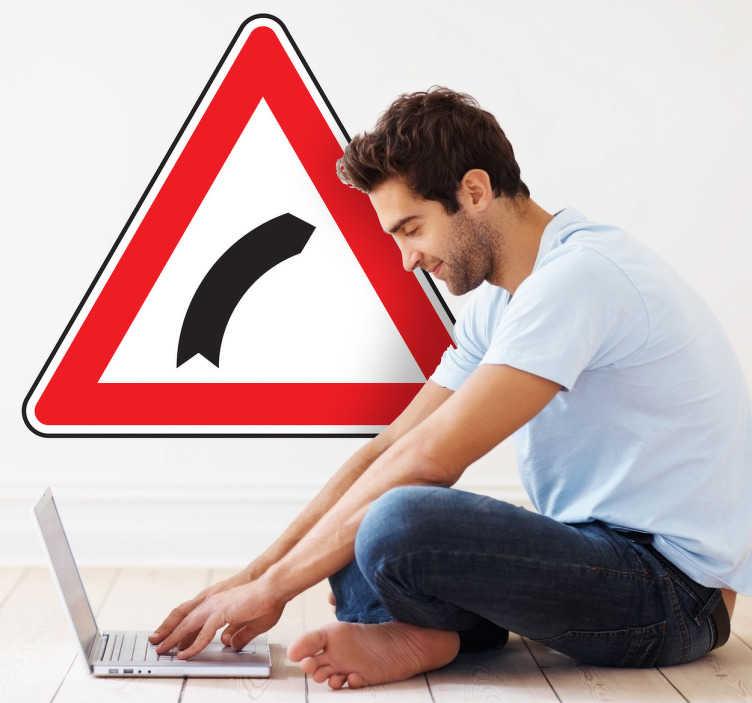 TenVinilo. Adhesivo decorativo curva peligrosa. Vinilo triangular con el símbolo que nos indica que hay una curva cerrada en la carretera.