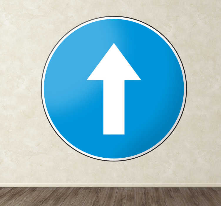 TenStickers. Autocolante decorativo sinal sentido obrigatório. Autocolante decorativo ilustrando o sinal de trânsito de sentido obrigatório, perfeito para decorar o seu lar ou estabelecimento.
