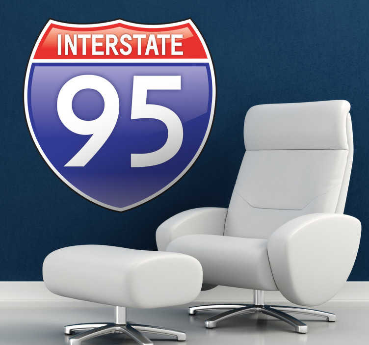 TenStickers. Interstate 95 Road Sign Wall Sticker. Room Stickers - The main highway on the East Coast of the United States, parallel to the Atlantic ocean seaboard.Ideal for decorating any space.
