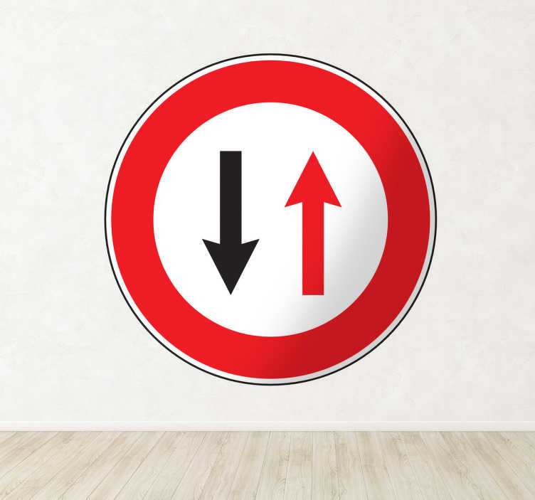 TenStickers. Priority to Oncoming Traffic Sign Sticker. A decorative traffic sign decal that a priority is given to the oncoming traffic. Perfect to remind yourself what this important sign means.