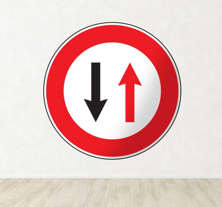 TenStickers. Sticker decorativo precedenza sensi unici. Adesivo murale che raffigura il noto segnale stradale che ci impone di dare la precedenza ai veicoli provenienti dal senso di circolazione opposto.
