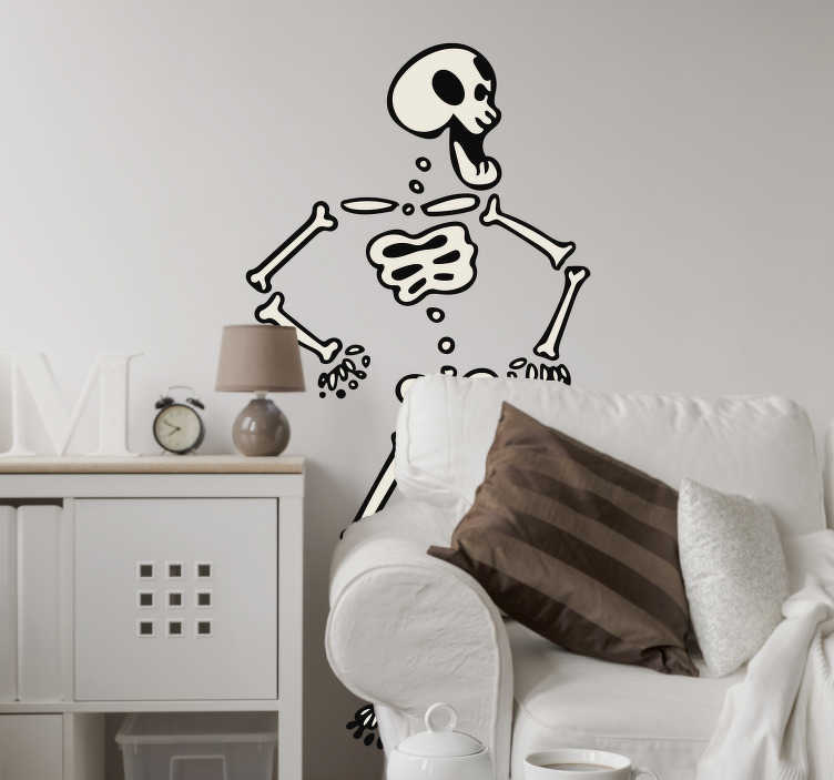 TenStickers. Dancing Skeleton Wall Sticker. Decals - Playful fun illustration of a hip dancing skeleton. Available in 50 colours and in various sizes. Suitable for all ages.