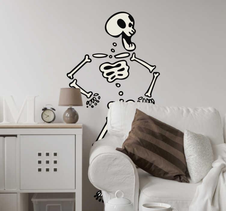 TenStickers. Naklejka dekoracyjna tańczący szkielet. Naklejka dekoracyjna na ścianę, która przedstawia tańczący szkielet. Śmieszna i oryginalna naklejka do Twojego pokoju.