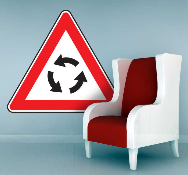 TenStickers. Roundabout Sign Sticker. Eye-catching red, white and black sign wall sticker of the roundabout symbol, perfect for decorating your bedroom in a unique and quirky way or for placing next to a street to notify people that there is a change in the road up ahead.