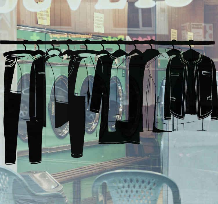 TENSTICKERS. 単色の洋服ハンギングショップウィンドウデカール. 単色の洗濯物は、家庭、ホテルの洗濯物、ビジネスショップスペース用の洋服デカールを掛けました。色はカスタマイズ可能で、本当に簡単に適用できます。