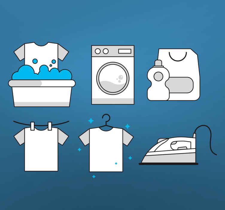 TENSTICKERS. ランドリーのシグナルショップウィンドウデカール. 洋服、洗濯機、アイロンなどを描いた象徴的なイラストが描かれたオリジナルの装飾的なランドリールームのウォールステッカー。