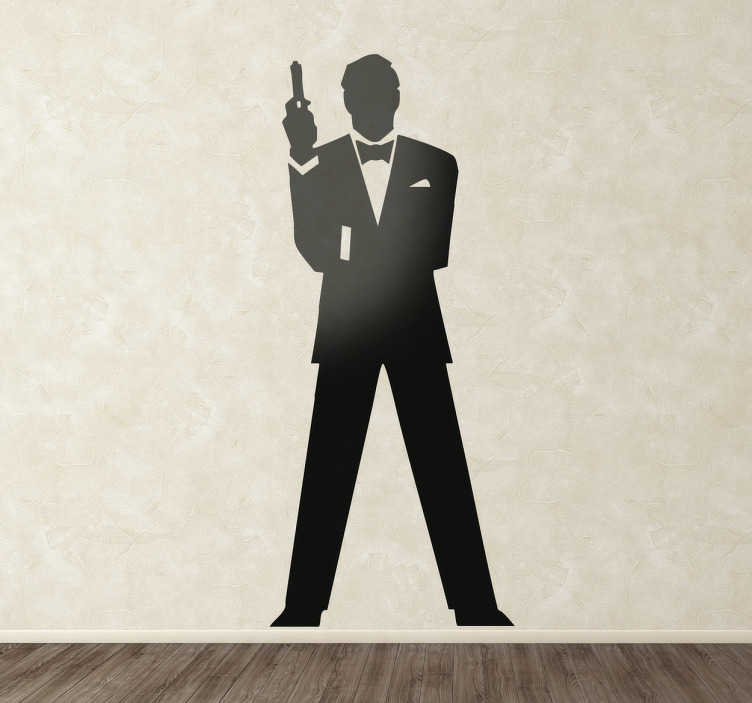 TenStickers. 007 cinema decal. Get this character wall sticker of the silhouette of James Bond and impress everyone with your good taste. Is available in 50 different colors