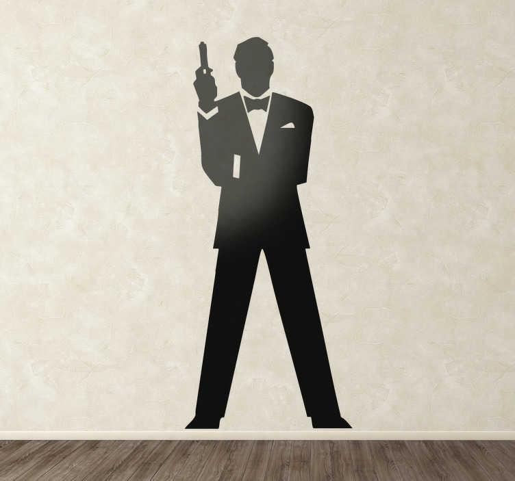 TenStickers. Wandtattoo Silhoulette 007. Gestalten Sie das Wohnzimmer mit diesem tollen Wandtattoo, dass die Silhoulette des Agenten 007 zeigt.