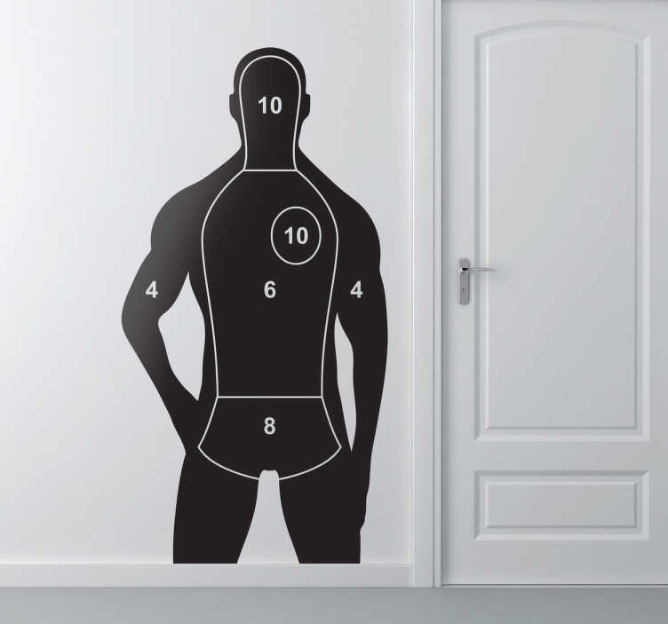 TenStickers. Human Silhouette Target Wall Sticker. Wall Stickers - Human silhouette shooting target design. Decals made from high quality vinyl, easy to apply and remove. Decorate walls or appliances