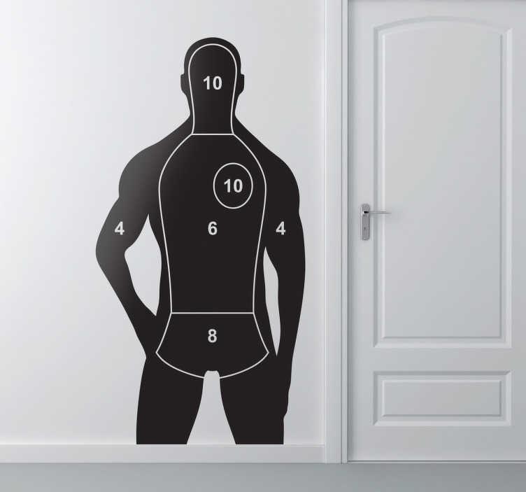 TenStickers. Wandtattoo menschliche Zielscheibe. Dekorieren Sie Ihr Zuhause mit diesem besonderen Wandtattoo, dass die Silhoulette eines Menschen mit den  Bereichen aus dem Schießsport zeigt.