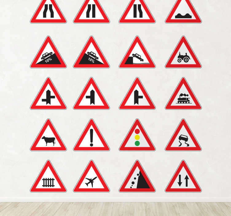 TenStickers. Warning Signs Decorative Stickers. A sticker collection of different traffic signs to decorate your home and also to make everyone aware of the important traffic signs.