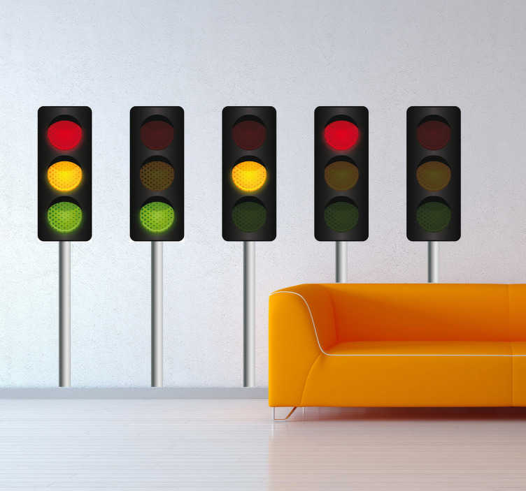 TenStickers. Muursticker stoplichten. Deze muursticker is het zijn vijf identieke stoplichten waarvan elk verschillende lichten aan of uit heeft staan. Geschikt voor diverse doeleinden.