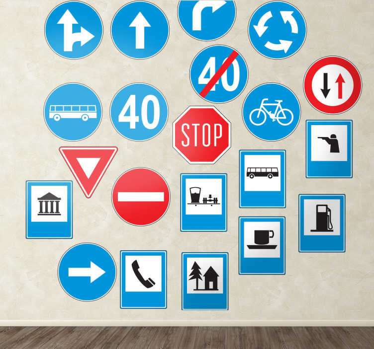 TenStickers. Traffic Road Signs Wall Stickers. Collection of blue, red, black and white road sign wall stickers for practical use or for giving your home/business a modern and quirky look. This eye-catching sticker set comes 21 vibrant vinyl designs, all available in different sizes and made out anti-bubble material.