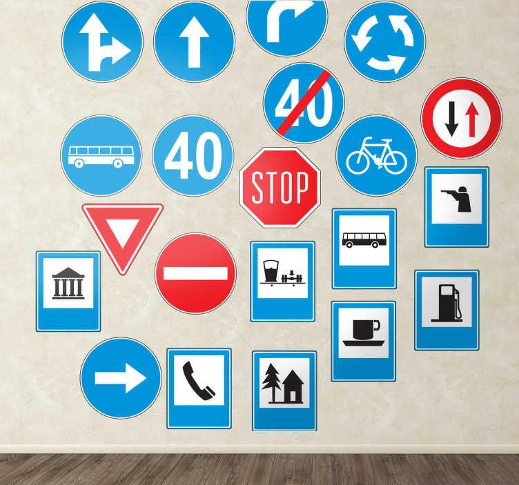 TenStickers. Naklejka znaki drogowe. Odtworzenie wielu znaków drogowych m.in takich jak: zakaz wjazdu, stop, droga jednokierunkowa...