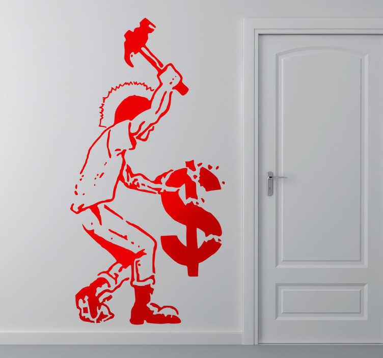TenVinilo. Vinilo decorativo anticapitalista. Dibujo adhesivo de un joven punky armado con un mazo destrozando el símbolo del dólar.
