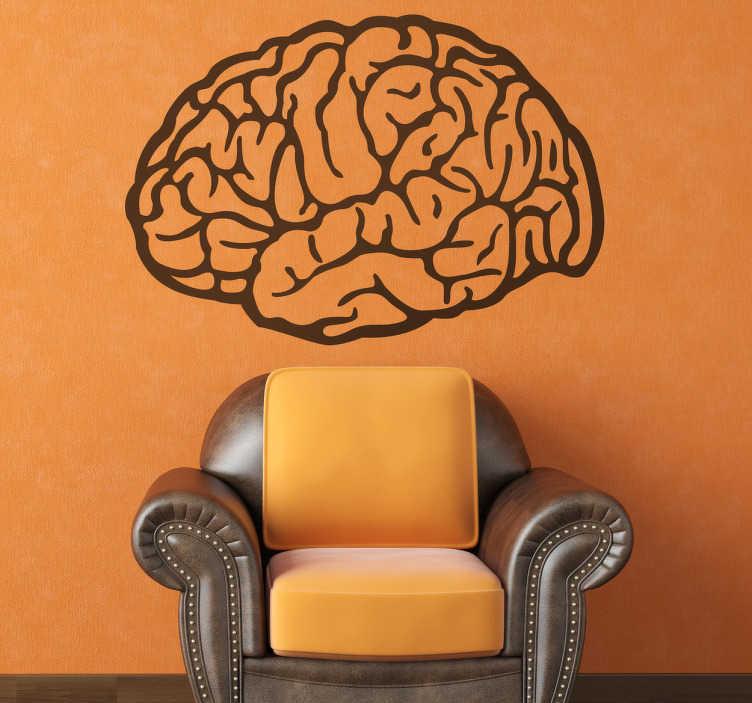 TenStickers. 두뇌 드로잉 장식 스티커. 두뇌의 독특한 디자인으로 멋진 과학 벽 스티커, 모든 종류의 방 장식에 적합합니다. 이 장식용 비닐 데칼은 도서관에서든 공부 나 직장으로 완전히 집중할 수있는 공간을 만드는 데 필요한 것입니다.