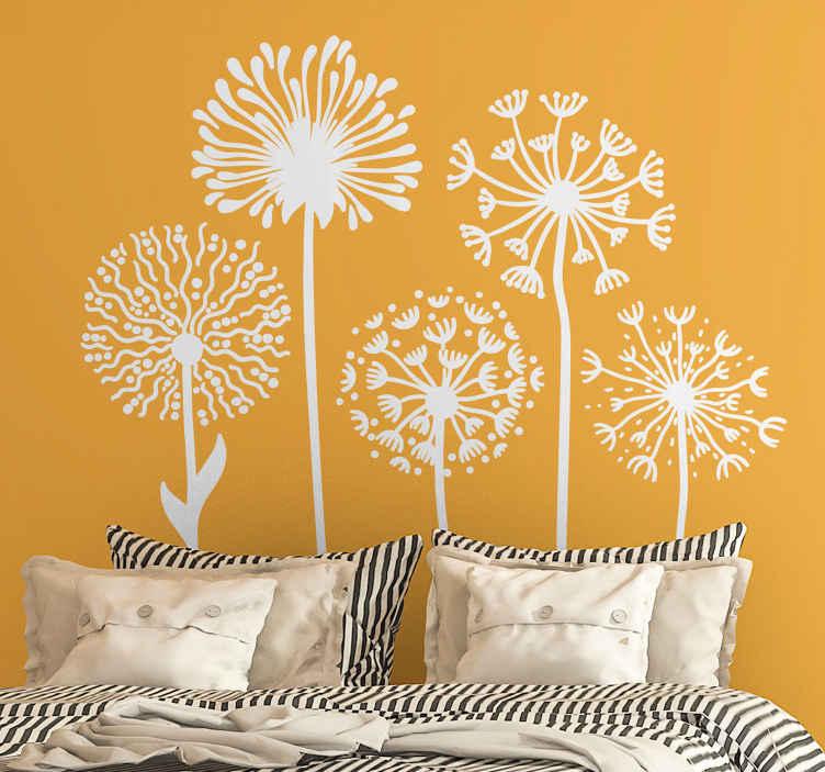 TenStickers. Autocolantes flores Flor dente de leão. Crie uma atmosfera natural e fresca em seu espaço com este vinis decorativos de vinil com flores de dente de leão. Vem em cores personalizadas.