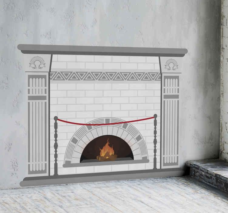 Fireplace White Bricks Object Sticker Tenstickers