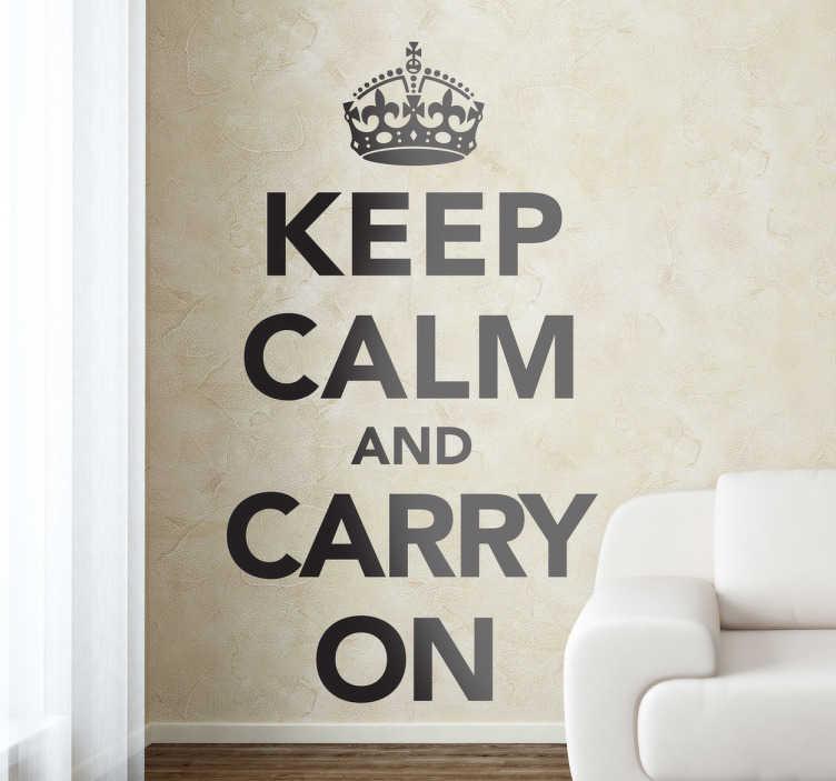 TenStickers. Keep Calm Aufkleber. Keep calm and carry on. Sind Sie auf der Suche nach einer ausgefallenen Wanddekoration? Dieses Wandtattoo macht jede Wand zu etwas Besonderem.