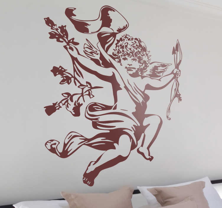 TenStickers. Sticker Cupido romantisch. Maak je slaapkamer in 1 klap romantischer door deze cupido sticker op je muur te behangen! Deze cupido heeft een pijl en boog en strooit rozen.
