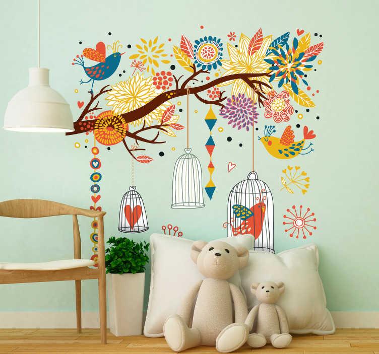 TENSTICKERS. 鳥の庭のステッカー. 私たちの春の壁のステッカーコレクションから、カラフルな花と美しい鳥の完全な枝を示す非常に詳細な木の壁のステッカー。この豪華な鳥の壁の芸術はあなたの家の壁に活気と暖かい雰囲気をもたらすのに最適です。