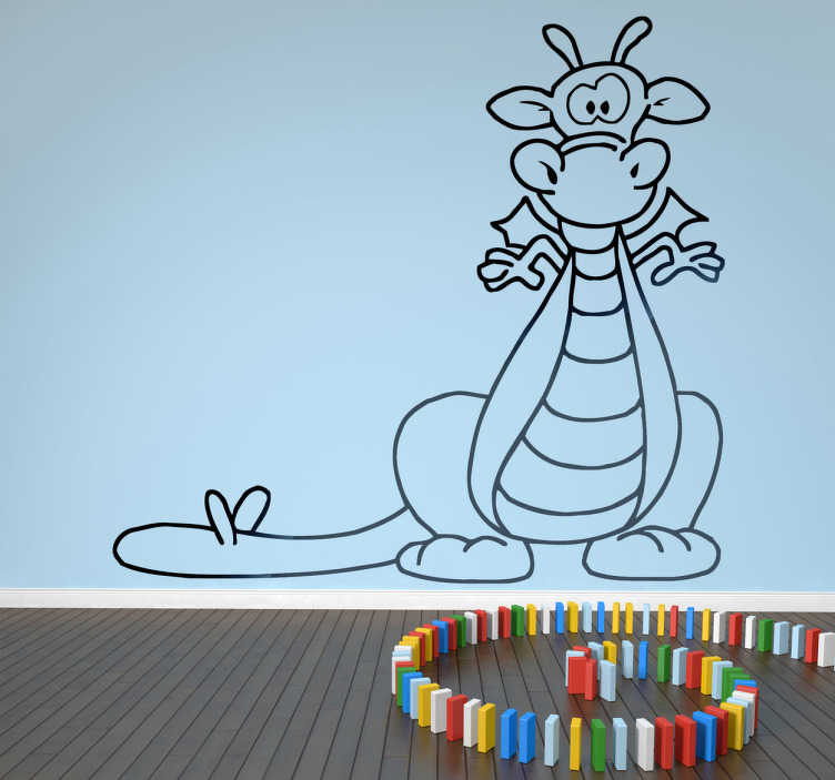 TenStickers. Fun Kids Dragon Wall Sticker. Kids Wall Stickers - Playful illustration of a dragon. Ideal for decorating areas for children. Available in a variety of colours and sizes.