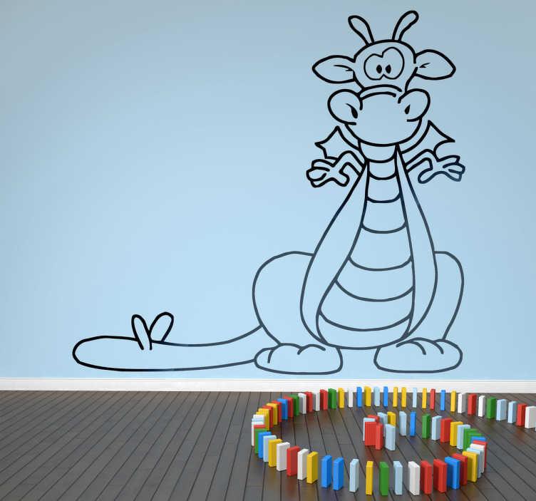 TenStickers. Sticker kinderkamer grappige draak. Een leuke muursticker van een kleine draak dat op het moment staat om vuur te spuwen! Wanddecoratie voor de decoratie van de kinderkamer.