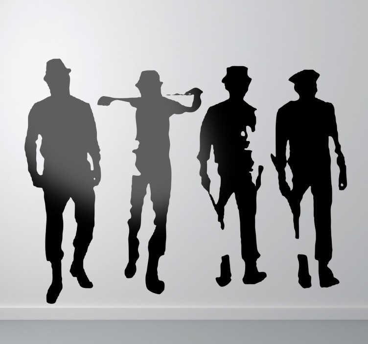 TenStickers. Stickers decorativo Laranja Mecânica. Stickers decorativo de cinema, televisão e videojogos ilustrando Alex e o seu grupo de amigos, do famoso filme Laranja Mecânica.