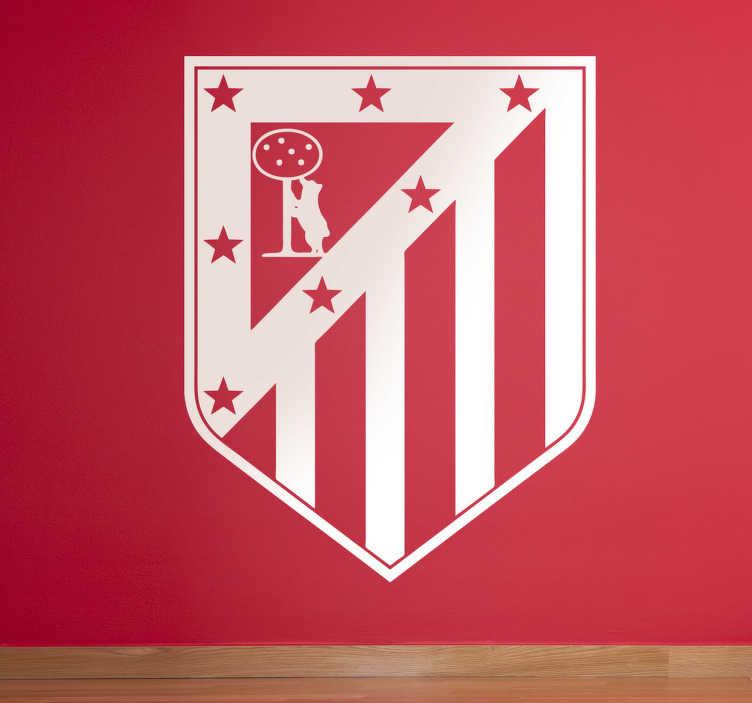TenVinilo. Adhesivo Atlético Madrid monocolor. Vinilo decorativo del escudo del club colchonero para los más hooligans del equipo madrileño.