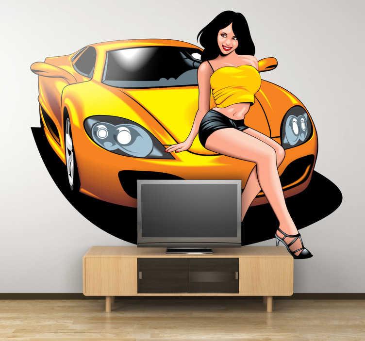 TenVinilo. Adhesivo decorativo coche y pinup. Vinilo para los aficionados a los coches de lujo, dibujo de una atractiva azafata encima del capó de un bólido.