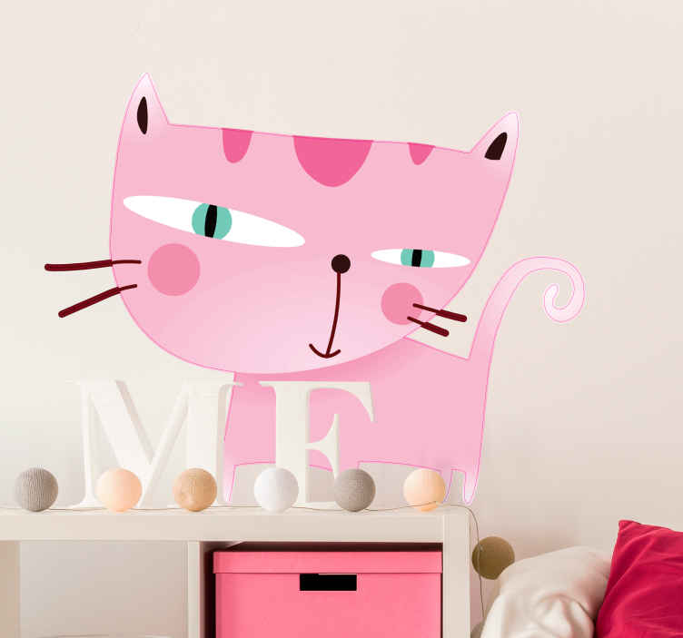 TenStickers. Pink Cat Illustration Wall Sticker. Wall Stickers - Fun illustration of a pink cat. Avaialble in a variety of sizes. Ideal for decorating any room.