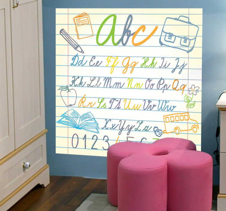 TenVinilo. Vinilo infantil abecedario de cuaderno. Vinilo decorativo infantil qué divertirá y a la vez enseñará a los más pequeños de la casa. Un adhesivo decorativo que no puede faltar en la habitación de ningún niño.
