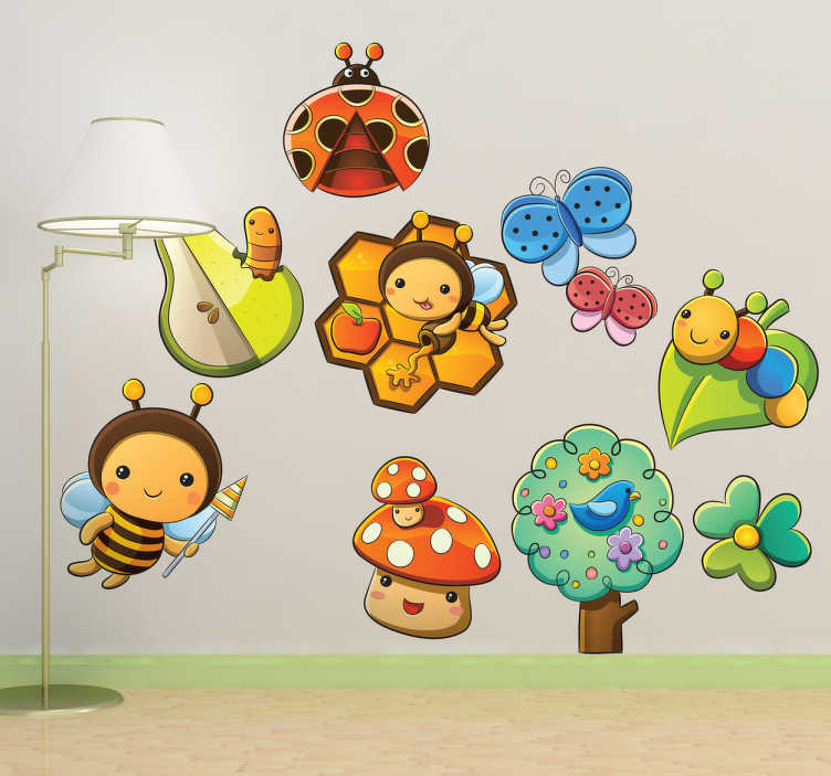 TenVinilo. Sticker infantil insectos y flores. Colección de adhesivos de abejas, mariposas, gusanos y otros divertidos animales.