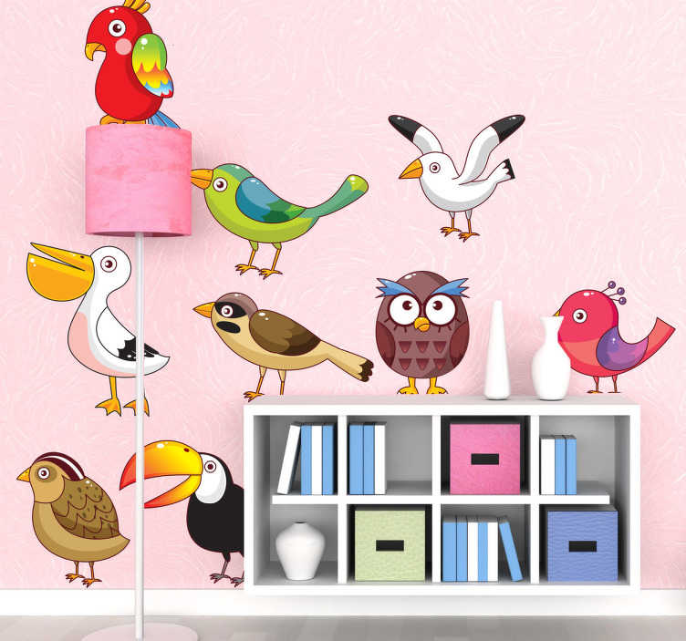 TenStickers. Vogelarten Aufkleber. Möwe, Eule, Papagei.. Hier finden Sie verschiedene Vogelarten als Wandtattoos, mit denen Sie das Kinderzimmer dekorieren können.