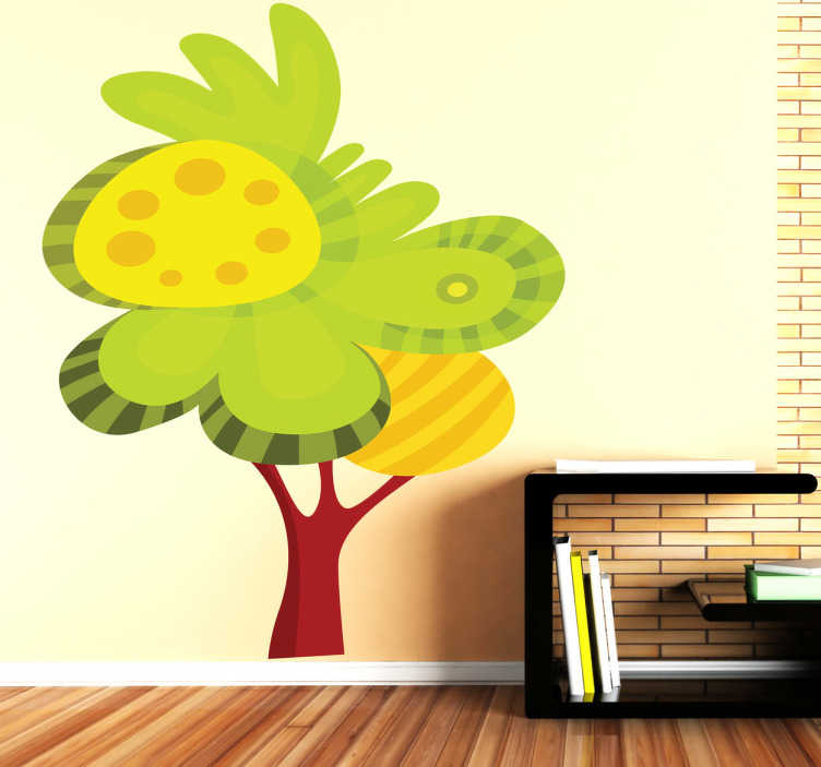 TenStickers. Sticker illustration arbre feuillu. Stickers illustrant un arbre très feuillu et aux feuilles jaunes et vertesSélectionnez les dimensions de votre choix pour personnaliser le stickers à votre convenance.