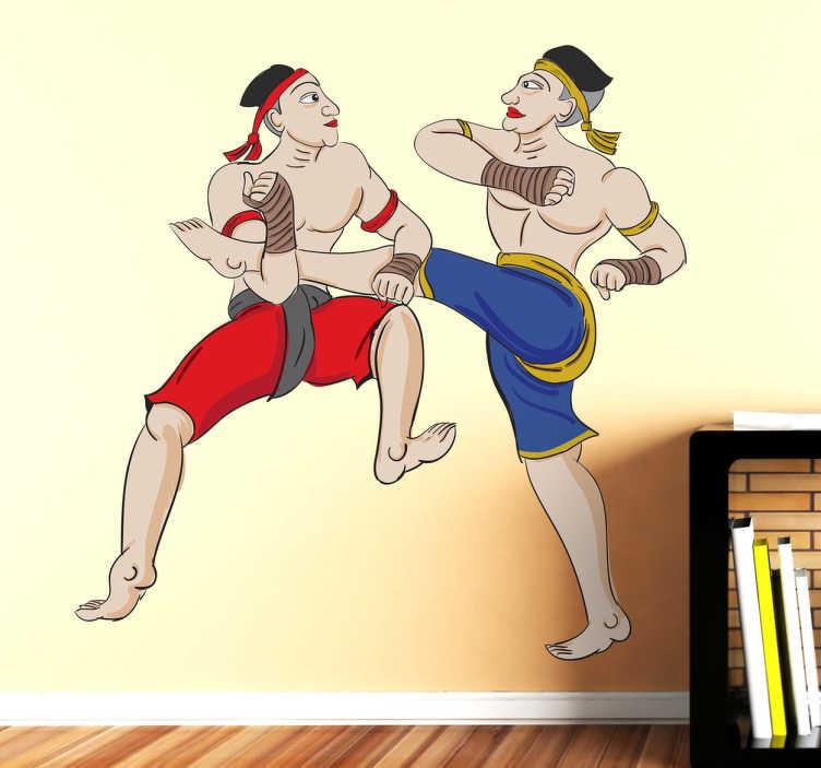 TenStickers. Sticker decorativo illustrazione kick boxing. Adesivo murale che raffigura due lottatori di Muay Thai impegnati in un incontro. Una decorazione ideale per gli appassionati di arti marziali.