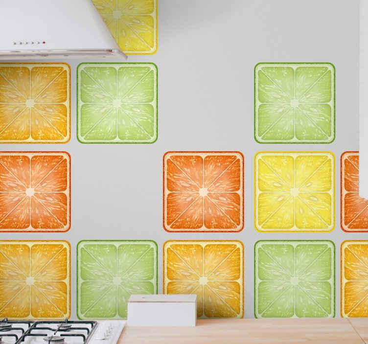 TenStickers. Adesivos azulejos Cítrico colorido. Vários adesivos de azulejos coloridos de ilustração de frutas cítricas para decorar uma cozinha ou espaço de parede de jantar com uma linda exibição de diferentes frutas cítricas fatiadas.