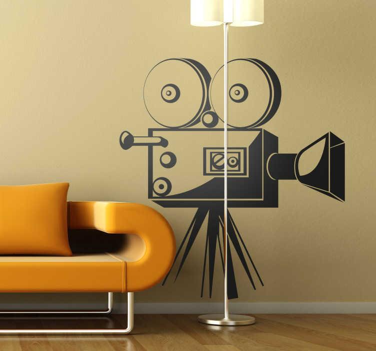 TenStickers. Naklejka dekoracyjna kamera filmowa. Naklejka dekoracyjna przedstawiająca XX-wieczną kamerę filmową. Dla wszystkich pasjonatów kina.