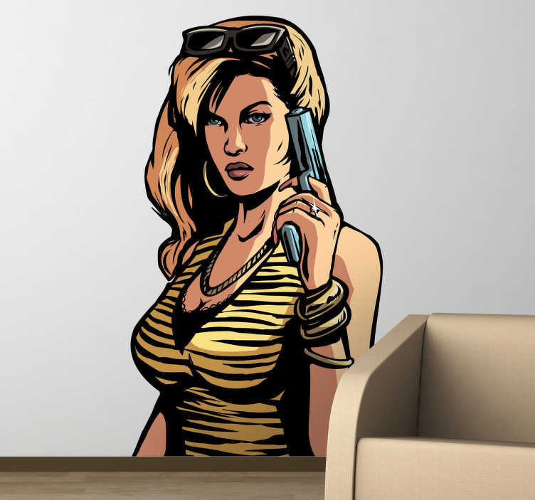 TenStickers. Naklejka GTA. Naklejka dekoracyjna inspirowana popularna grą Grand Theft Auto, przedstawiająca zadziorną kobietę trzymającą broń.