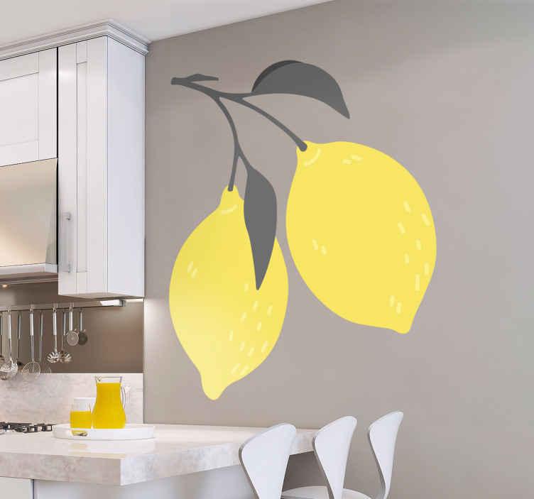 TENSTICKERS. トロピカルレモンフルーツビニールウォールステッカー. レモンはどれくらい好きですか。さて、あなたはあなたの台所またはダイニングスペースでこのレモンフルーツデカールデザインを試して、レモンへのあなたの愛を示すことができます。
