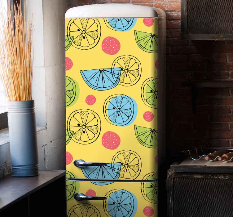 TENSTICKERS. 柑橘系の果物の冷蔵庫の装飾的なデカール. 黄色の背景にさまざまな柑橘系の果物のデザインが施された、この元々作られた冷蔵庫のドアのビニールステッカーで冷蔵庫のドアの外観を変更します。