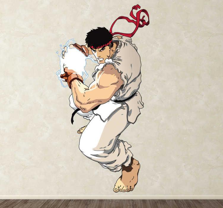 TenStickers. Sticker jeu Ryu street fighter. Un autocollant mural illustrant Ryu, un des deux personnages principaux du très célèbre jeu vidéo de combat Street Fighter.