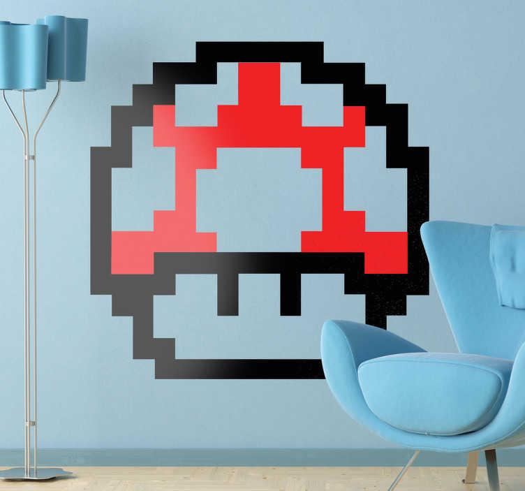 TenStickers. Sticker enfant champignon Mario 8 bits. Stickers décoratif représentant un des champignons pixelisé que l'on retrouve dans le jeu de console Mario, pour les fans et les nostalgiques.