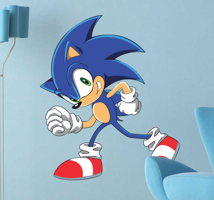 TenStickers. Sonic Cartoon Kids Sticker. A cartoon decal of the famous character from the Saga videogames, Sonic! Be as fast as Sonic with this videogame wall sticker!